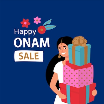 Discount design with indian woman and gift boxes