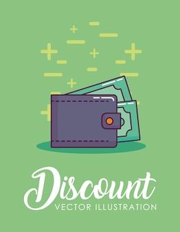 Discount design with wallet with money