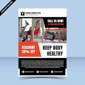 Discount fitness center red flyer template design