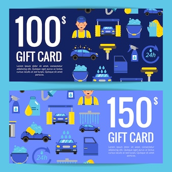 Discount or gift card voucher templates with car wash flat icons