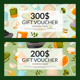 Discount or gift card voucher with cartoon beauty and spa element set