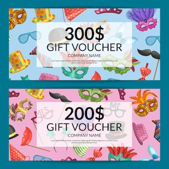 Discount or gift card voucher with masks and party accessorie set