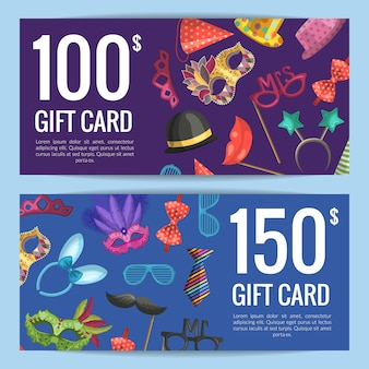Discount or gift card voucher with masks and party accessories
