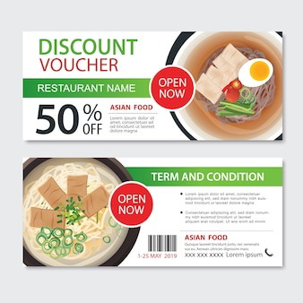 Discount gift voucher asian food template design.noodles set