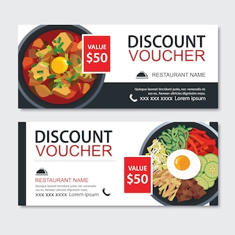 Discount gift voucher asian food template design.