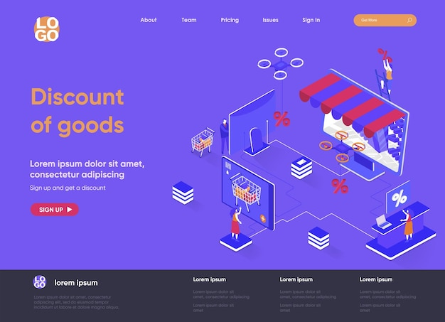 Discount of goods 3d isometric landing page website   illustration with people characters
