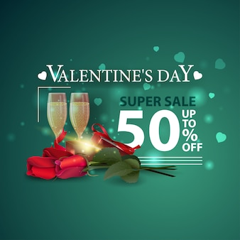 Discount green banner for valentine's day with gift and flowers