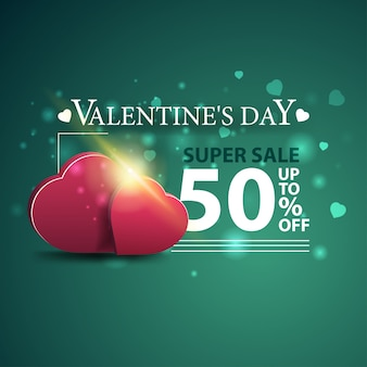 Discount green banner for valentine's day with two hearts
