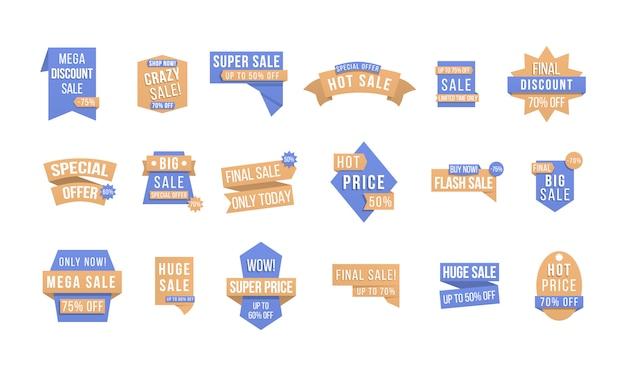 Дизайн этикеток со скидкой, распродажа значки, купоны. этикетки и бирки с рекламной информацией для продвижения и больших продаж. коллекция тегов специального предложения, элементы баннеров для веб-сайта и рекламы.
