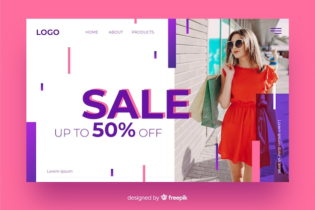 Discount landing page with photo