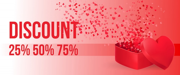 Discount lettering with open heart shaped gift box