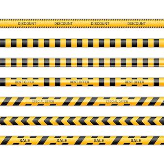 할인 라인과 최고 및 특별 제안 리본. 노란색과 검은색 색상의 판매 테이프. 경고 표지판 컬렉션 흰색 배경에 고립입니다. 벡터 일러스트 레이 션.