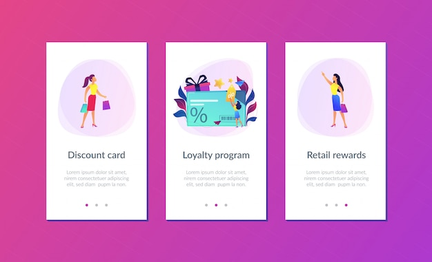 Discount and loyalty card app interface template.