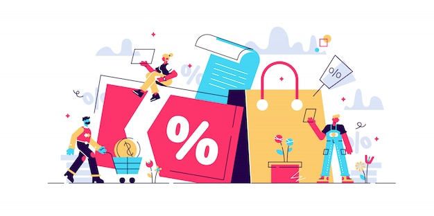 Discount and loyalty card, loyalty program and customer service, rewards card points concept. isolated concept illustration with tiny people and floral elements. hero image for website.