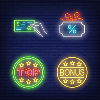 Discount neon sign set. glowing gift card