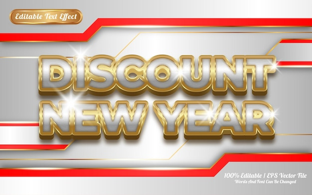 Скидка новый год редактируемый текстовый эффект золотой тематический