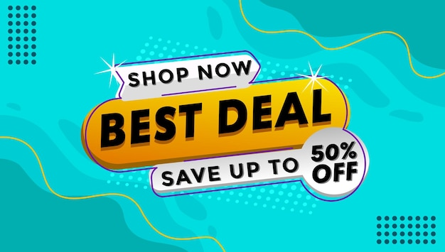 Discount and offer shop template banner in blue color bacground illustration Premium Vector