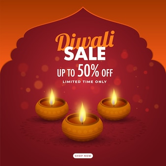 Discount offer with lit oil lamps (diya) on orange and red bokeh background