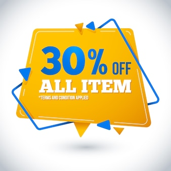Discount promo banner in paper style