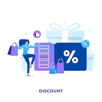 Discount promo illustration concept for websites