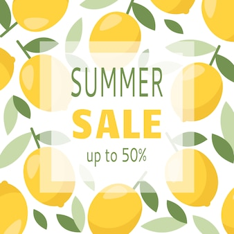 Discount promotion banner with lemon
