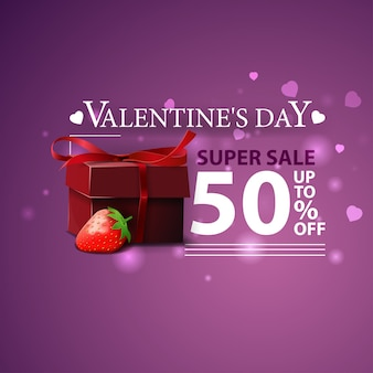 Discount purple banner for valentine's day with gifts and strawberry