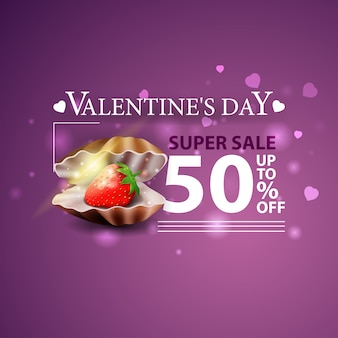 Discount purple banner for valentine's day with pearl shell and strawberry