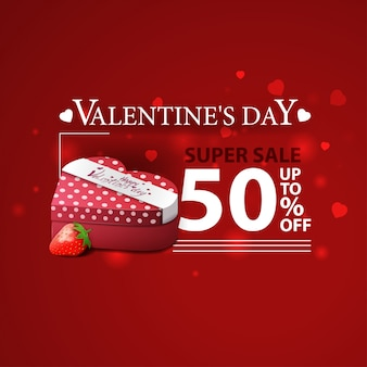 Discount red banner for valentine's day with gifts and strawberry