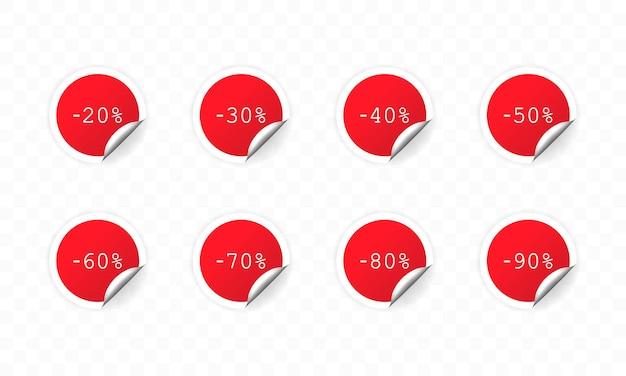 Рабата набор красных наклеек