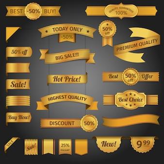 Discount retro ribbon golden set