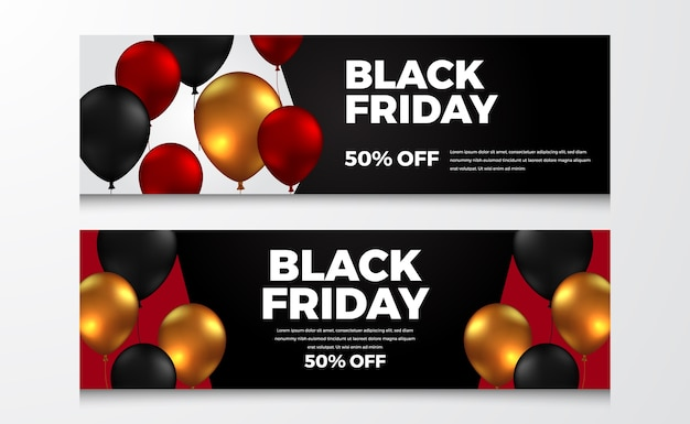 Discount sale banner template for black friday event with flying helium balloon