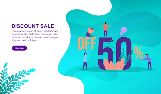 Discount sale illustration concept with character. landing page template