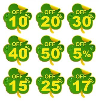 Скидка на продажу листьев клевера. 10-процентное предложение в день святого патрика