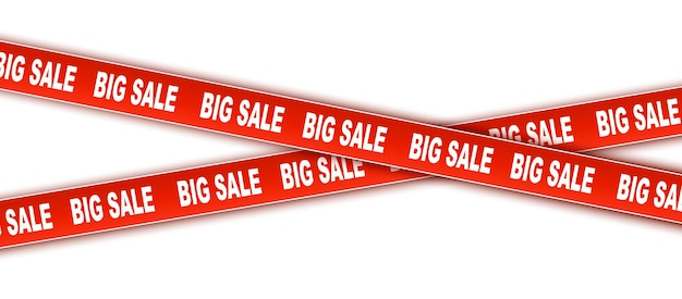Discount and sale set of vector tapes ribbons red discount tapes caution tape with big sale