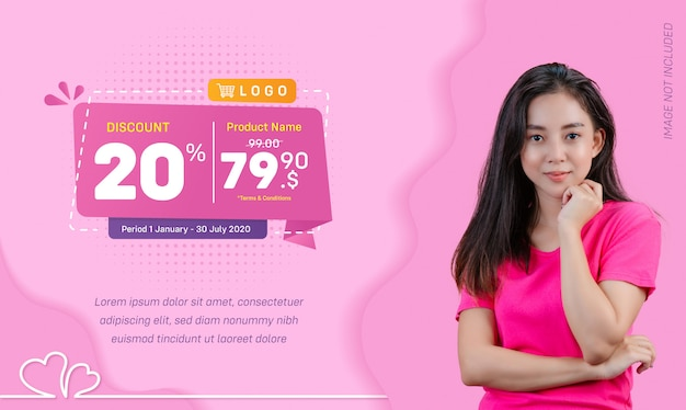 Discount social media banner sale liquid pink background