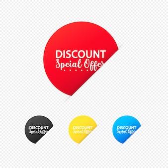할인 특별 제공 스티커 세트입니다. 그래픽 및 웹 디자인용. 격리 된 투명 한 배경에 벡터입니다. eps 10.