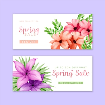 Discount spring sale hand drawn banner