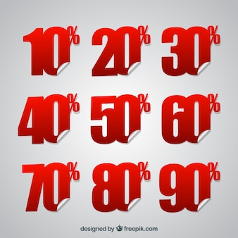 Discount sticker of % numbers pack