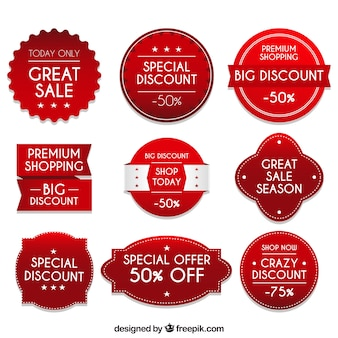 Discount sticker set of nine