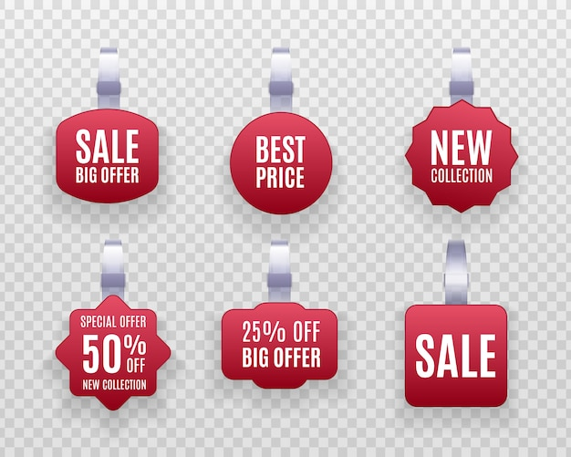 Discount sticker, special offer, plastic price banner, label for your . set of realistic detailed  red wobbler promotion sale labels  on a transparent background.