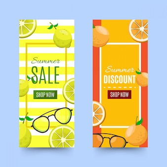 Discount summer banners with pineapple and lemons