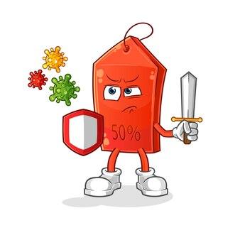 Discount tag against viruses cartoon