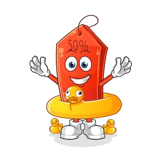 Discount tag with duck buoy cartoon mascot