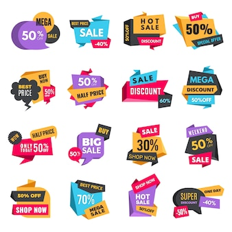 Discount tags. product ads special offer labels  low prices promotional