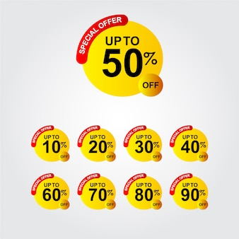 Discount up to 50% off special offer logo template design illustration