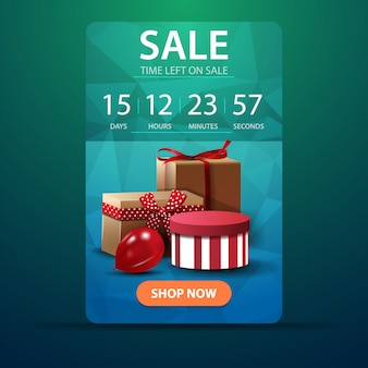 Discount vertical green banner with a timer for the end of the promotion