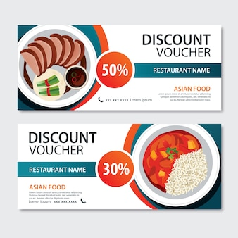 Discount voucher asian food template . chinese set