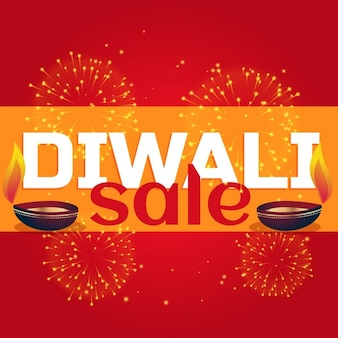Discount voucher decorated with fireworks for diwali