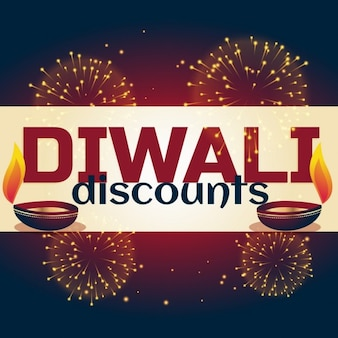 Discount voucher decorated with lights for diwali