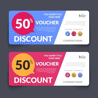 Discount voucher design template colorful halftone pattern